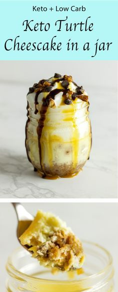 This keto cheesecake in a jar was inspired to be a easy to make low carb dessert. Turtle style with Choczero caramel sauce, Lily's chocolate chips, and pecans all keto and low carb friendly. Take that diet for the win! Only on a low carb, high fat diet can you truly enjoy delicious and easy to make low carb desserts like these.