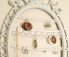 Repurpose an interesting old frame, add lace to display jewelry. Look for old frames and odds 'n ends lace at Estate ReSale & ReDesign, LLC in Bonita Springs, FL or in your local thrift store.