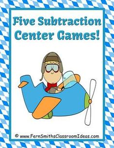 free, Subtraction Centers Planes Theme - Five Different Strategies, different themes, photo illustrations, explanation Teaching Subtraction, Teaching Math, Math Teacher, Maths, Teaching Ideas, Math Resources, Math Activities, Daily 5 Math, Math Enrichment