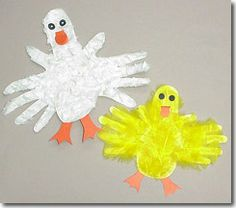 Handprint/Footprint Ducklings (covered with tissue paper or feathers)