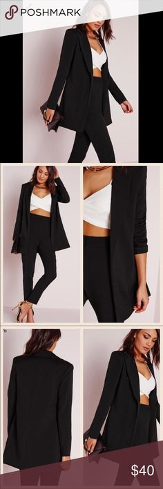"""NWT Missguided Longline Blazer Black New with tag and no damages. Will come sealed in original packaging.                                                         get the layered look this season and up your style game with this tailored long line black blazer. this supper classy jacket with long collar detail is seriously kickass. team up with some jeans a bodysuit and heels for a flawless fashion fix.    approx length 77cm/30.5""""   95% polyester 5% elastane   stephanie wears a us size 4 and…"""