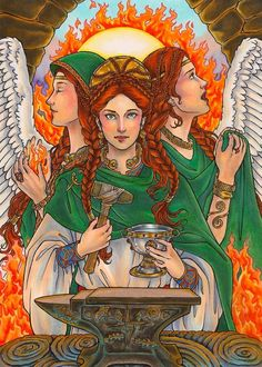 Brighid – Goddess of the Forges Brighid Goddess, Celtic Goddess, Athena Goddess, Mother Goddess, Goddess Art, Wicca, Magick, Anglo Saxão, Pagan Festivals