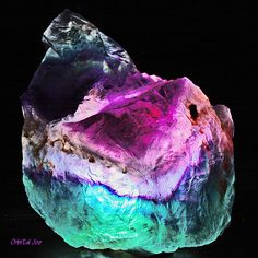 Magical Rainbow fluorite by Orbital Joe Minerals And Gemstones, Rocks And Minerals, Natural Crystals, Stones And Crystals, Gem Stones, Chakra Crystals, Healing Crystals, Crystal Magic, Beautiful Rocks