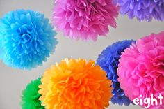 pretty pom-poms by Aisha ALM Tissue Pom Poms, Paper Pom Poms, Tissue Balls, Crafts To Make And Sell, Crafts For Kids, Diy Crafts, Ribbon Art, Ribbon Crafts, Tissue Paper Decorations