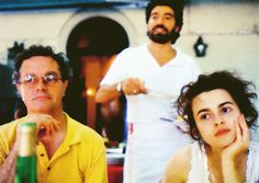"""dontbesodroopy:  """" Helena Bonham Carter, at lunch at the Cave di Maiano, during the shoot for A Room with a View.  """""""