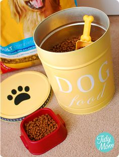 Finally! Something to make out of those hideous holiday popcorn tins! Ballard inspired dog food tin.