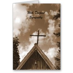 With Deepest Sympathy , Old Country Church Sepia Greeting Cards