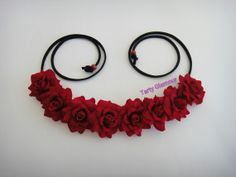 Red Rose Headband Rose Crown Flower Headband by TartyGlamour, $15.00