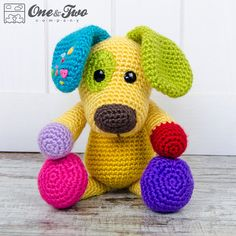 Scrappy the Happy Puppy Amigurumi  PDF Crochet por oneandtwocompany