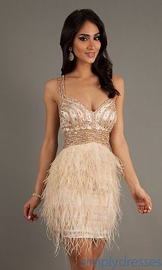 Sherri Hill Short Party Dress 2947 with Feather Skirt I want this ...