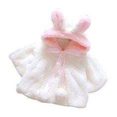 PHOTNO Warm coat jacket Baby Infant Girls Long Sleeve Outerwear girls winter coat (0-24M) (90/10 (18M), White)