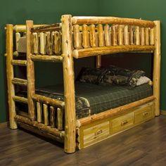 Cedar Lake Full Over Queen Log Bunk Bed