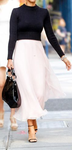Cropped sweater + maxi skirt
