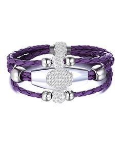 Love this Purple Three-Row Leather Wrap Bracelet with Swarovski® Elements on…