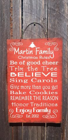 Personalized Christmas Rules Sign Christmas by FarmhouseChicSigns