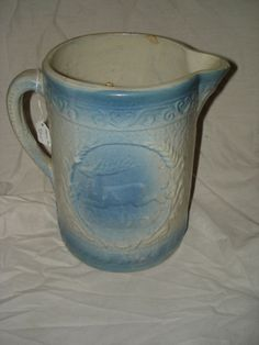 Milk PITCHER with DEER -- blue and white stoneware