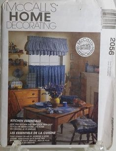 Valance Curtain Chair Pad Potholder Sewing Pattern Appliance Covers 2056 McCalls #McCall