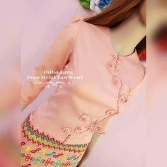 Myanmar Traditional Dress, Traditional Dresses, Burmese Girls, Flower Button, Stylish Blouse Design, Ladies Tops, Girls Wear, Korean Drama, Dress Patterns