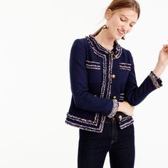 Love this J.Crew blazer! It has such an adorable and subtle trim with tulle and flowers! Perfect for spring!