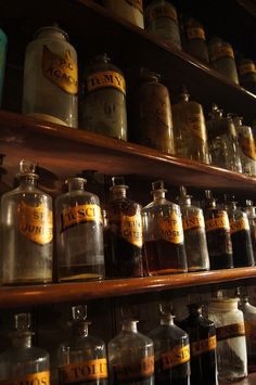 Glass shop rounds on display in the Gibson & Son Pharmacy.  by Science Museum London, via Flickr