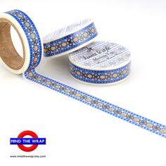 Navy & Gold Washi Tape  Moroccan Tile Pattern  by MindtheWrap, $2.85