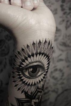 Bruno Almeida, eye, pattern, black and gray, tattoo, ink, design, wrist