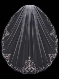 Bridal English tulle veil with embroidered and beaded edge available colors White, Silver, Diamond white, Ivory.