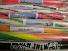 Sticks of striped Brighton rock Brighton Rock, Brighton And Hove, East Sussex, Good Old, Candy Cane, Sticks, Work Images, Sweets, Sea