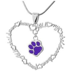 All My Children Have Paws Purple Paw Sterling Necklace