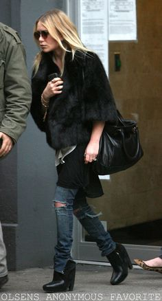 fur, ripped jeans, boots