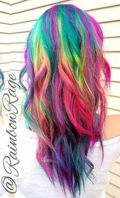 Rainbow dyed hair...