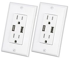 USB Charger Wall Outlet Dual High Speed Duplex Receptacle 15-Amp, Smart 3.1A Quick Charging Capability, Tamper Resistant Outlet Wall plate Included UL Listed MICMI C10 (White USB Charger 2pack) - MICMI 215 USB Charger Outlet charges two USB devices simultaneously without power adapters at high speeds at 3.1 Amp child proof safety outlet with usb charging capacity. The smart intelliChip precisely reads the power need of your two devices to deliver optimal power accordingly without overchar...
