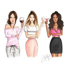 The Weekenders  (all on Etsy)  #fashionsketch #fashionillustrator #fashionillustration #yeswayrosé #roséallday #etsy #bostonblogger