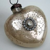Ornament with old jewelry attached...the looking glass spray paint will be great for this! ill bring my jar of buttons to the next craft day!