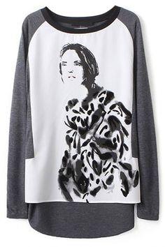 Sweet Paneled High-Low #Grey #Knit #Tee - OASAP.com