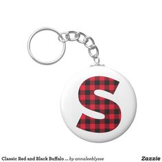 Classic Red and Black Buffalo Plaid S Monogram Keychain Monogram Keychain, S Monogram, Monogram Gifts, Custom Buttons, Christmas Card Holders, Buffalo Plaid, Holiday Cards, Cool Designs, Personalized Items