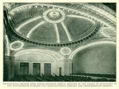 Lecture-Hall, seating over Three Hundred people, erected in The Palace of Machinery by The Westinghouse Electric and Manufacturing Company. 1904 World's Fair