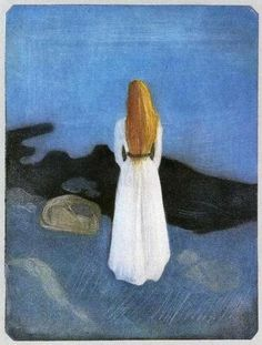 Girl on the Beach (1896) by Edvard Munch.  (via: my-ear-trumpet: musicophilia: blueruins)