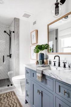 Blue Bathroom Vanity, Gray Vanity, Master Bathroom, Upstairs Bathrooms, Grey Bathrooms, Basement Bathroom, Light Blue Bathrooms, Coastal Bathrooms, Inspiration Design