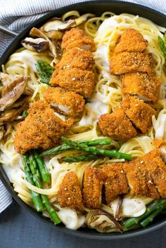 REBLOGGED - This recipe for chicken carbonara is crispy chicken with asparagus…