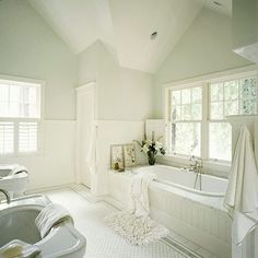 Dream bath with wainscotting and white marble around tub!!!