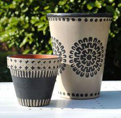 Annie Sloan Chalk painted pots.