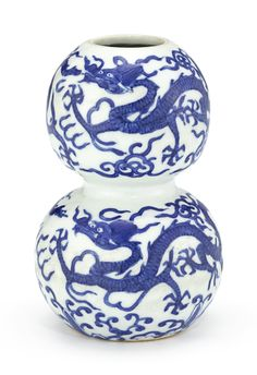 A blue and white 'dragon' double-gourd vase, Mark and period of Jiajing Art Nouveau, Blue And White Vase, Oriental, White Dragon, Chinese Ceramics, Blue China, Dragon Art, Chinese Antiques, Fine Porcelain