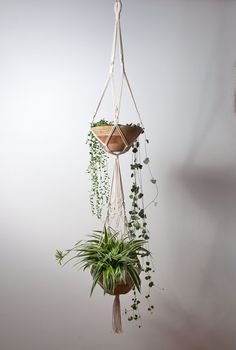 Large macrame plant hanger in 100% cotton. Suitable for pots and bowls, with a diameter of 10 to 20 cms (approximately 4-8 inches). The bowls that are shown in the picture are measuring 21 cms across (bottom 9 cms)  Specifications hanger (measured with currect bowls): - Length from top of the hanging loop to bottom of the lowest pot: about 125 cms / 50 inches - Total length, including the fringe: about 142 cms / 56 inches - Material: braided off-white cotton rope* - Thickness of the rope: 3…