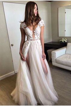 Prom Dress Princess, Cap Sleeve Deep V-neck Prom Gown With Appliques,Sexy Split Tulle Wedding Dresses Shop ball gown prom dresses and gowns and become a princess on prom night. prom ball gowns in every size, from juniors to plus size. V Neck Wedding Dress, Dresses Short, Prom Dresses 2017, Prom Dresses With Sleeves, Tulle Prom Dress, Lace Evening Dresses, Bridesmaid Dresses, Dress Lace, Evening Gowns