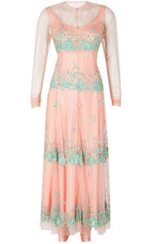 Peach kurta set with green embroidery available only at Pernia's Pop-Up Shop.