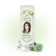Ambrosia Memorial Candle 3 x 9 With Photo
