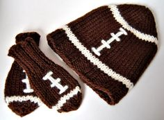Wool Baby Football Hat and Mitten Set, 0-6 months or 6-12 months. $40.00, via Etsy.