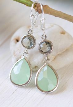 Mint Green and Charcoal Grey Bridesmiads Earrings in Silver.