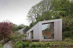 Ecospace holiday retreats like these in Cornwall and in North Wales are larger scale versions of the modular studios, and include bathrooms, kitchens and bedrooms. They are ideal as vacation homes or hotel rooms in beautiful natural sites.
